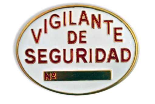 Placa vigilante de seguridad metal